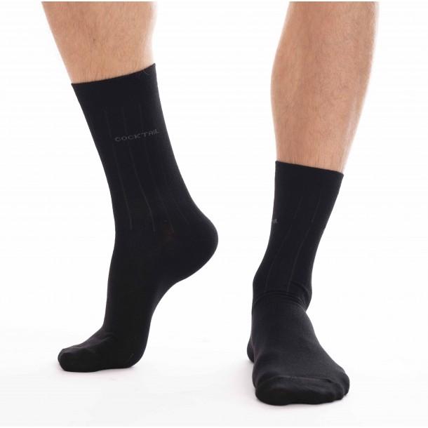 3 páras, anyagában csíkos férfi zokni (fekete)