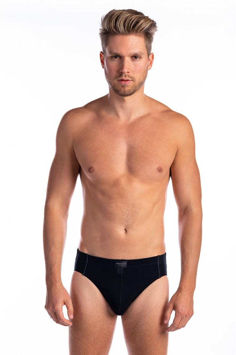 Egyszínű, oldalt paszpólcsíkos férfi alsó (fekete)