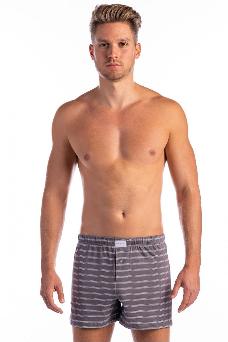 Pálcikás csíkos férfi bő boxer (szürke)