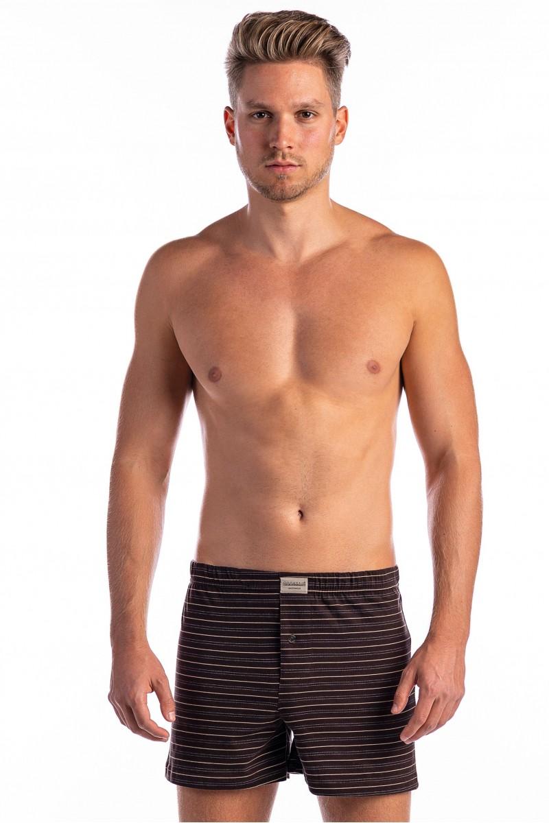 Csíkos férfi bő boxer (barna)