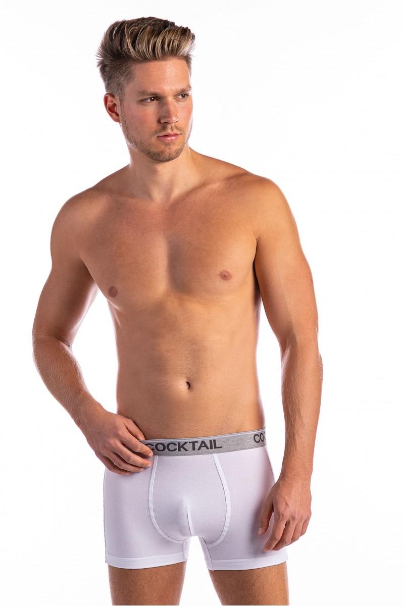 Szövött gumis egyszínű férfi boxer (fehér)