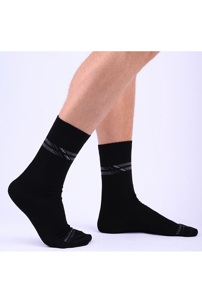 Felül csíkos férfi zokni (fekete)