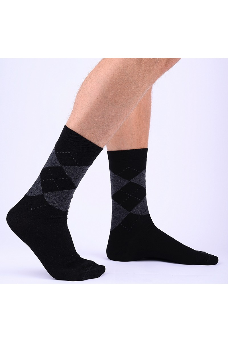 Kárókockás férfi zokni (fekete-sötétszürke)