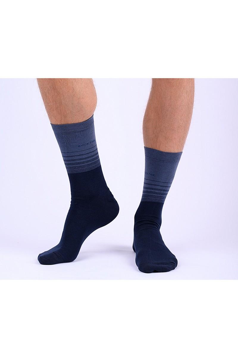 Trendi csíkos férfi zokni (sötétkék)