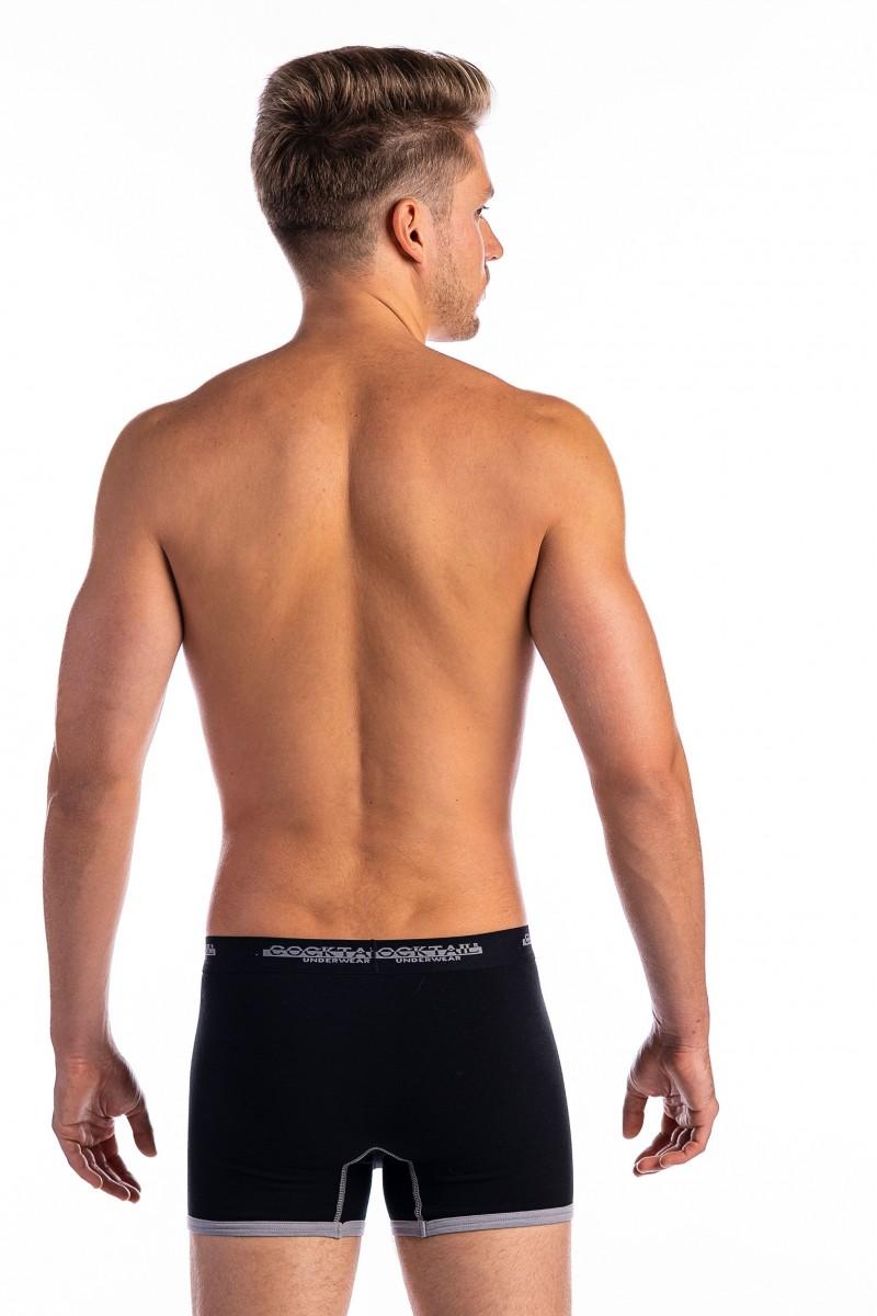 Szűk fazonú boxer, szárán paszpólcsíkkal (fekete)