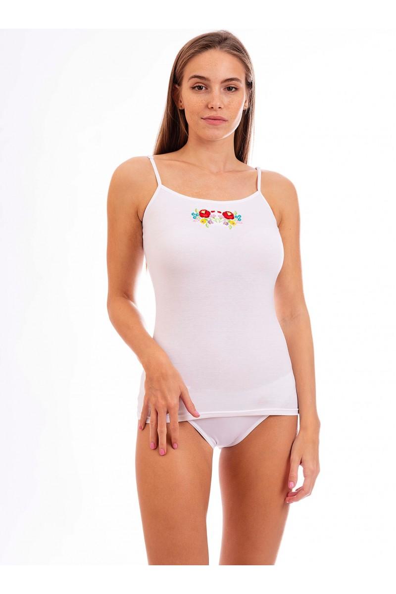 Kalocsai hímzésű női trikó (fehér)