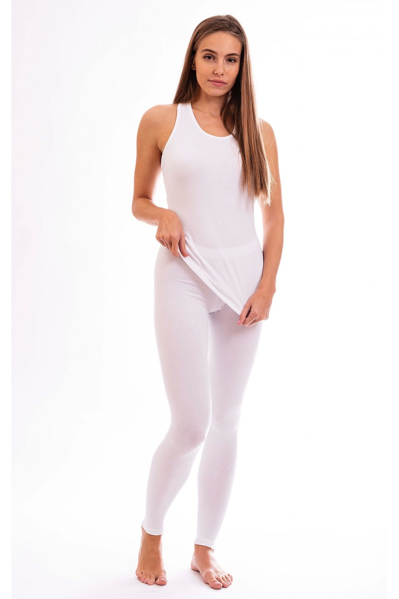 Egyszínű női leggings hosszú szárral (fehér)