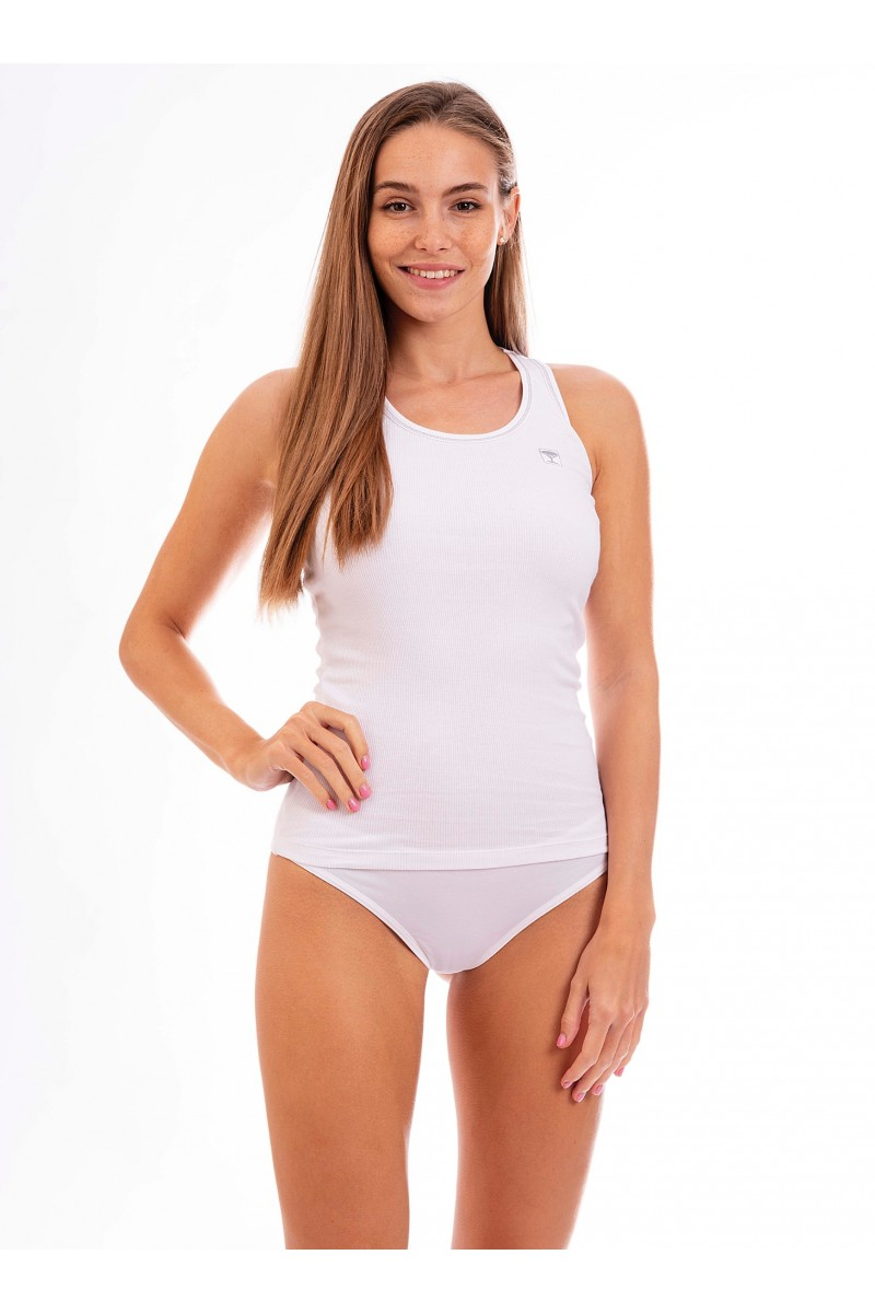 Birkózó hátú, bordás női trikó (fehér)
