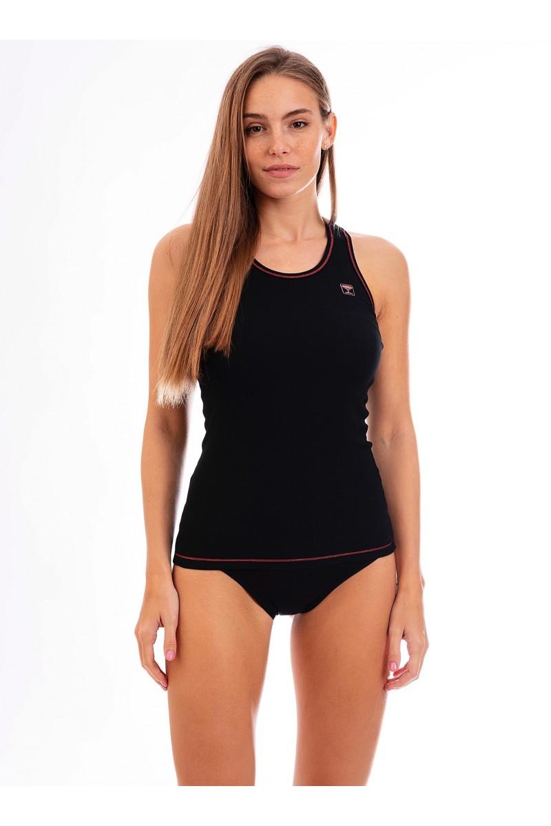 Birkózó hátú, bordás női trikó (fekete)