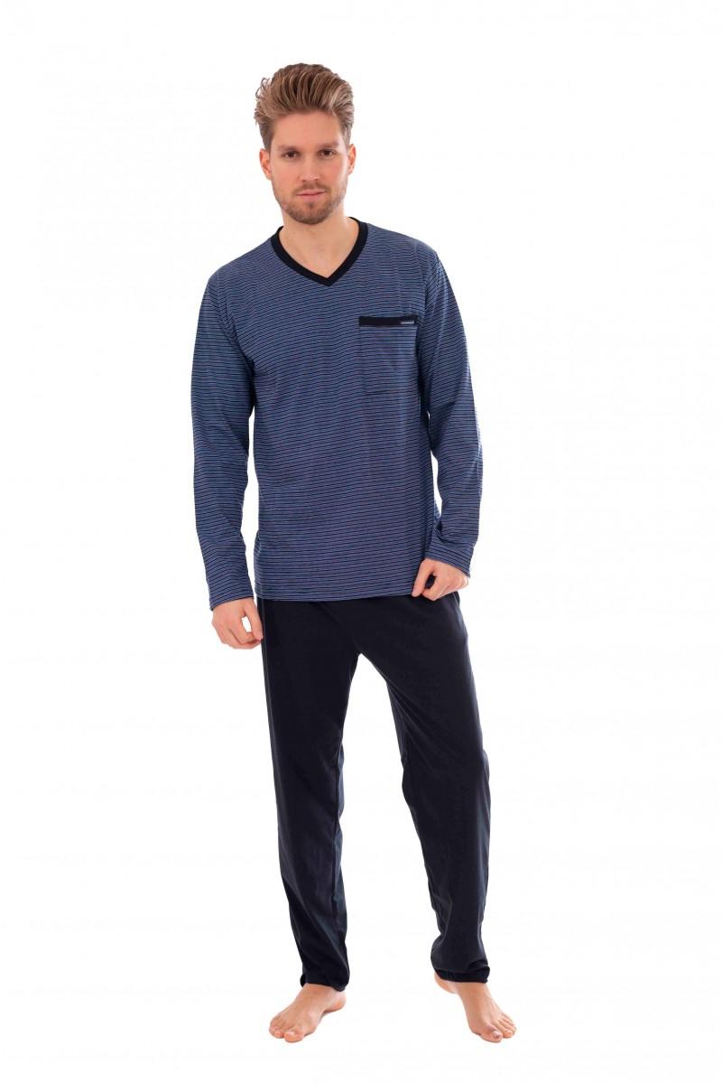 Csíkos, hosszú pizsama (sötétkék)