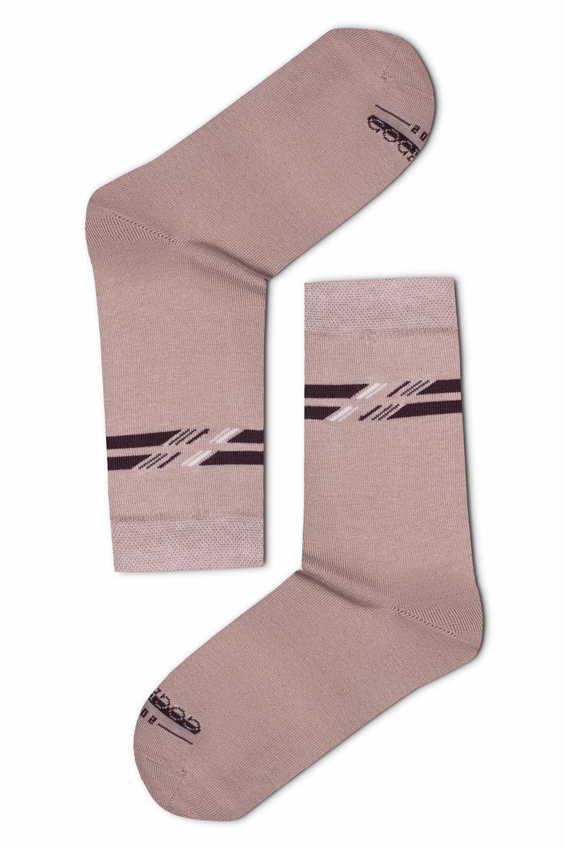 Felül csíkos férfi zokni (drapp) 8d49f2563d