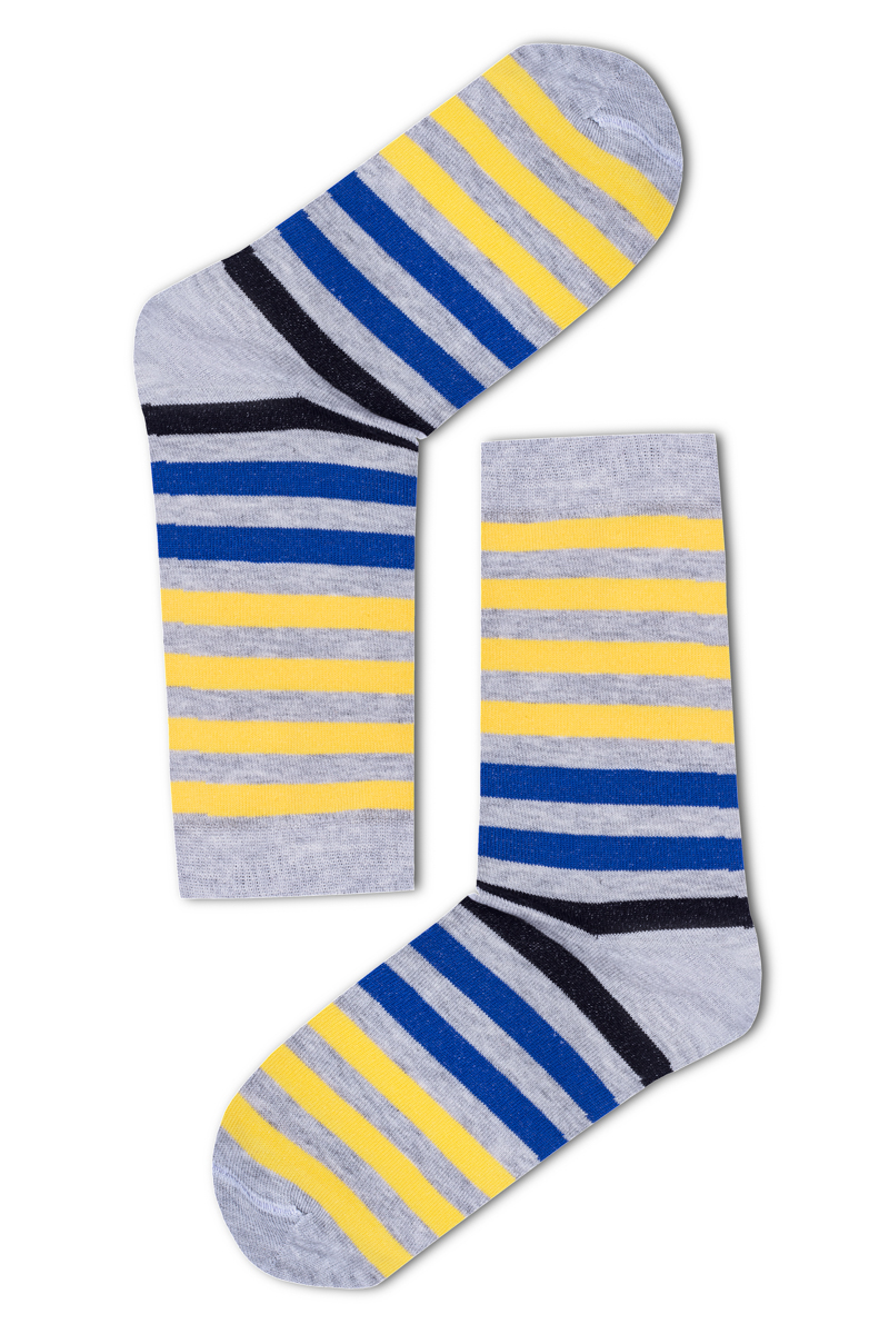 Széles csíkos férfi zokni (sárga-kék-szürke) 4523892b68