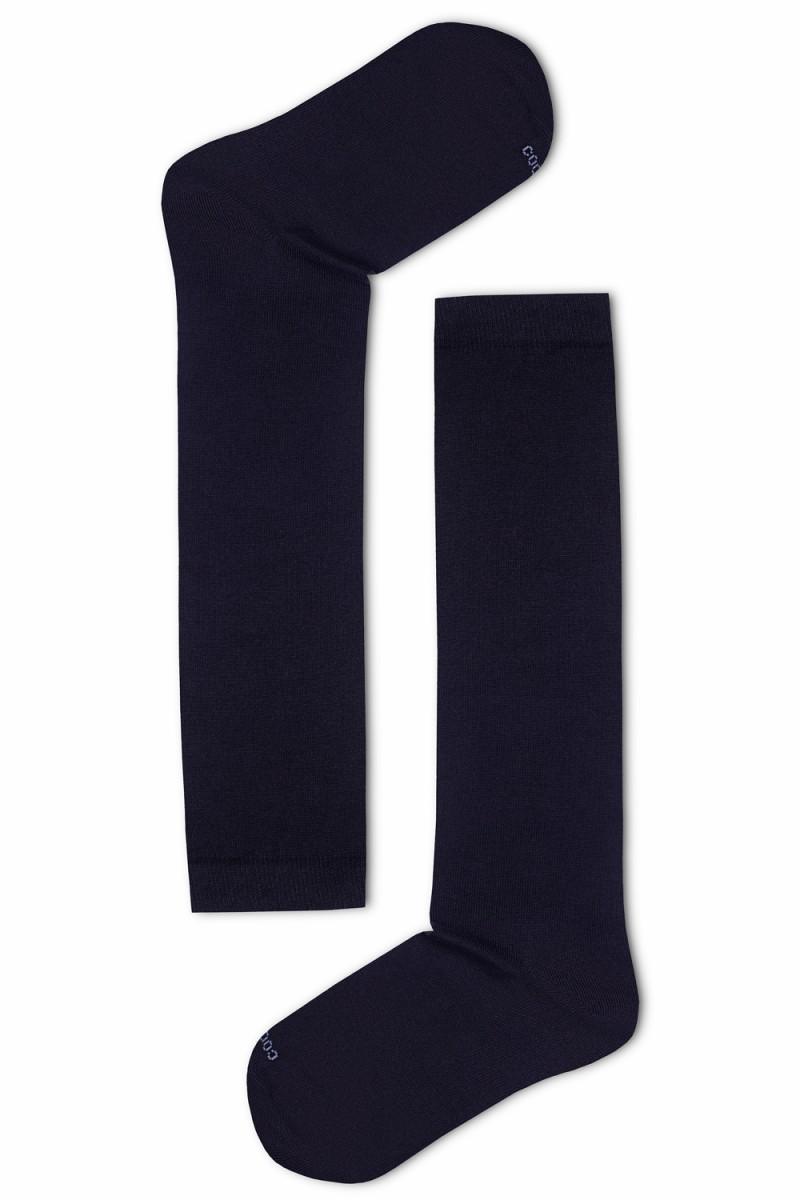 Egyszínű női térdzokni (fekete) 736e600f61