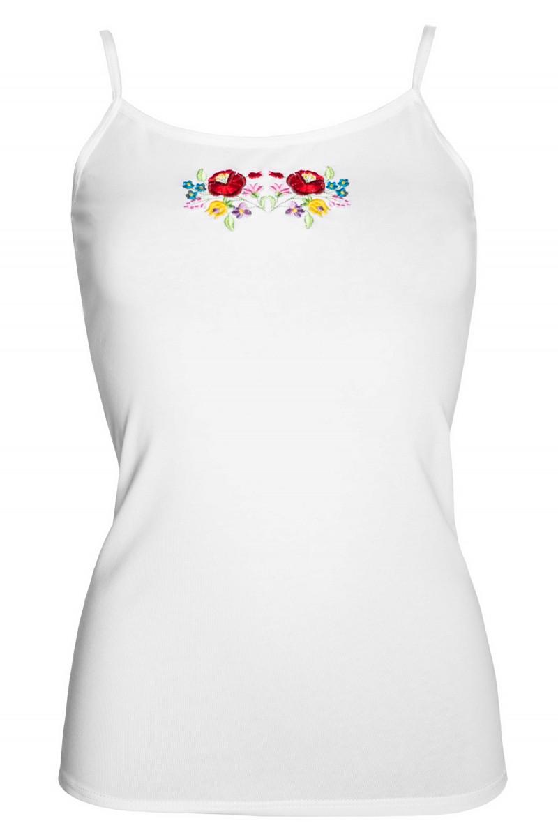 0724eeadd9 Kalocsai hímzésű női trikó (fehér)
